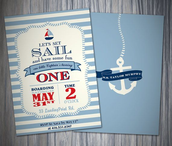 Nautical Blue Stripe 1st Birthday Boy Invitation/Printable Invitation on Etsy, $22.55 AUD