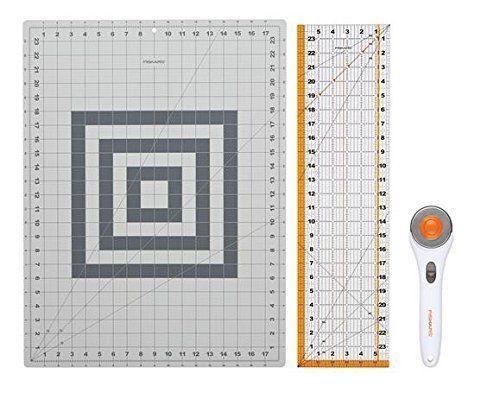 Rotary Cutter Fabric Cutting Mat Set Clear Acrylic Ruler Measuring Grid Fiskars #Fiskars #Cutting #Cutter #Rotary #Craft