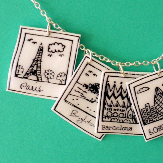 "Polaroid cities charm necklace - Shedraws on Etsy- 1"" square - how cute are these??"