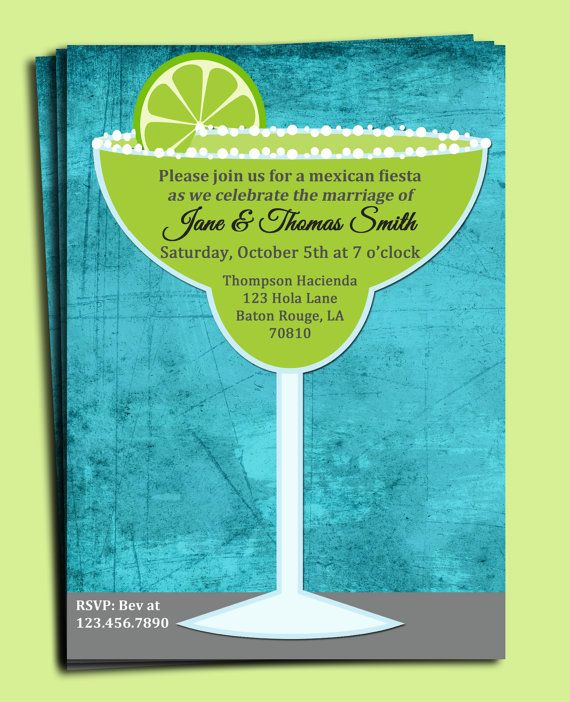 Margarita Invitation Printable - Birthday, Rehersal Dinner, Wedding, Just Because. $15.00, via Etsy.