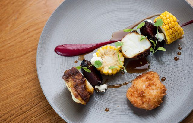 Vindaloo-spiced monkfish with sweetcorn and beetroot