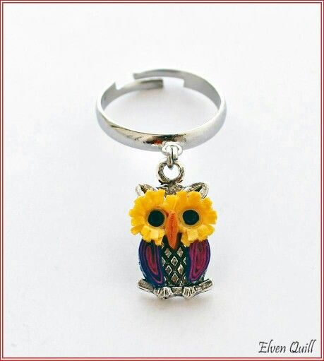 Owl - ring - quilling by Elven Quill www.facebook.com/elven.quill