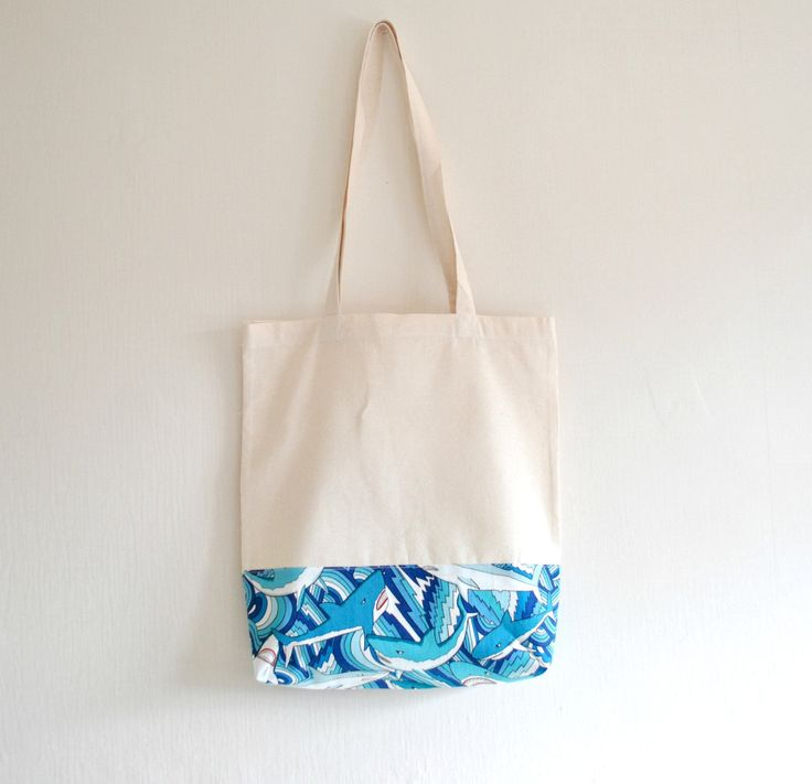 Shopper eco friendly tote market bag accent print novelty shark predator print cotton zero waste produce shoulder bag in blue and white. by CuriousMissClay on Etsy