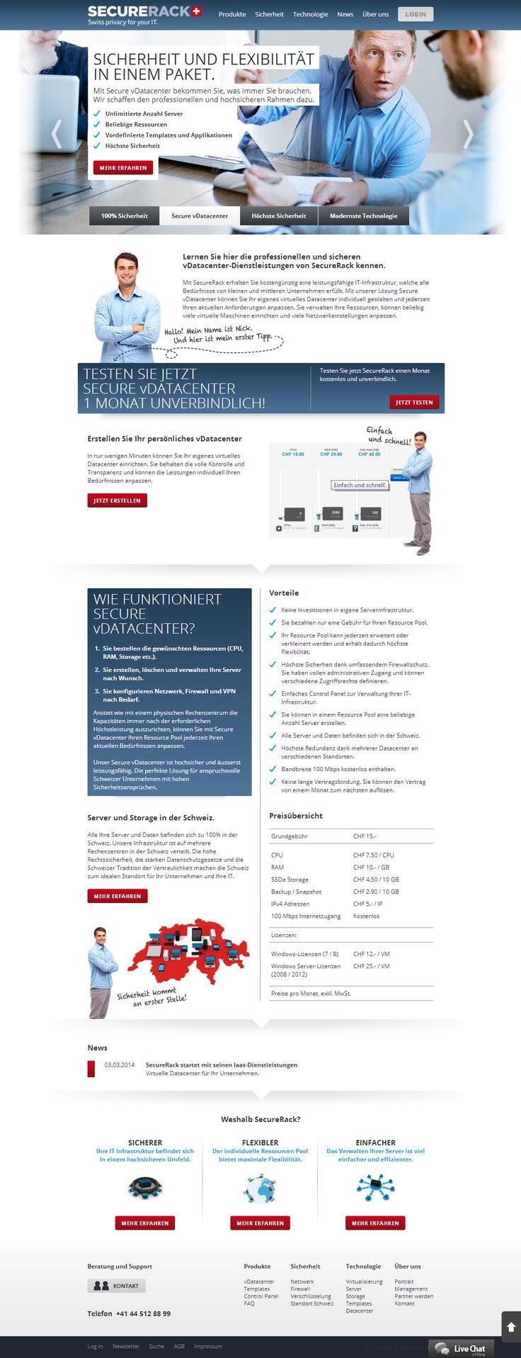 IaaS, Cloud, vDatacenter, VMware, Private Cloud, VPS, Virtual Server, Dedicated Server, Server Housing, Colocation. Mit SecureRack erhalten Sie kostengünstig eine leistungsfähige IT-Infrastruktur, welche alle Bedürfnisse von kleinen und mittleren Unternehmen erfüllt. URL: http://www.securerack.ch CMS: #Weblication