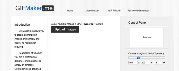 GIF Maker allows users to upload and string together images to create a GIF. After uploading the images, users can fine-tune the canvas size and animation speed. This tool doesn't allow for many more adjustments, but it's especially handy if you already have an existing GIF and want to do quick resize without having to launch other apps. If a silent GIF doesn't cut it for you, this tool also allows you to grab audio from any Youtube video.