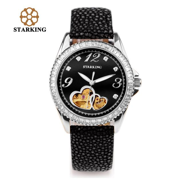 2016 STARKING Female Automatic Watches Fish Leather Mechanical Hollow Retro Watches Luxury Diamond Waterproof Wristwatch AL0128