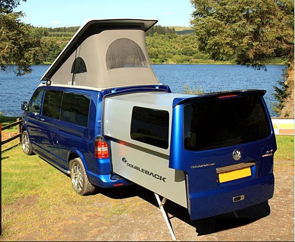 doubleback rear slide out van buscamper op volkswagen t5 campers pinterest campingcar. Black Bedroom Furniture Sets. Home Design Ideas