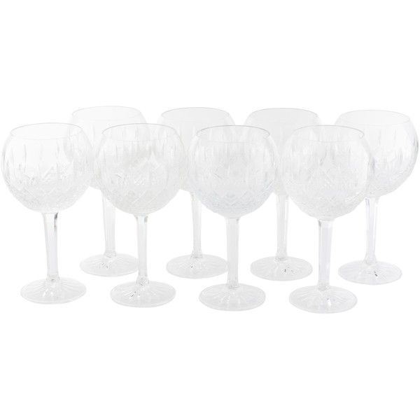 Pre-owned Waterford 8-Piece Glenmede Balloon Wine Glasse ($295) ❤ liked on Polyvore featuring home, kitchen & dining, drinkware, clear, set of 8 wine glasses, waterford wine glasses, etched wine glasses, etched wine glass and crystal drinkware