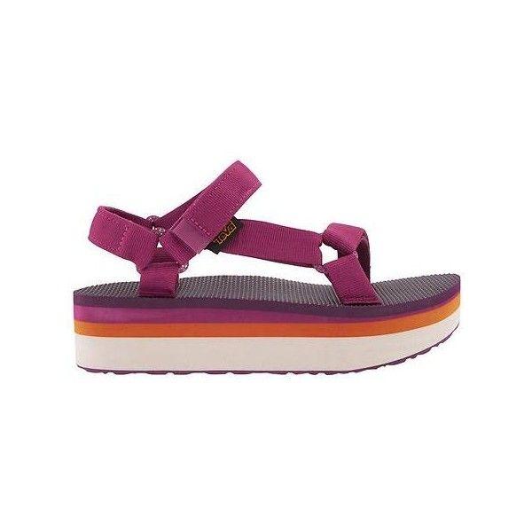 Teva Women Flatform Sandal Size 10 ($60) ❤ liked on Polyvore featuring shoes, sandals, purple, purple platform shoes, ankle tie sandals, flatform shoes, teva and nylon shoes