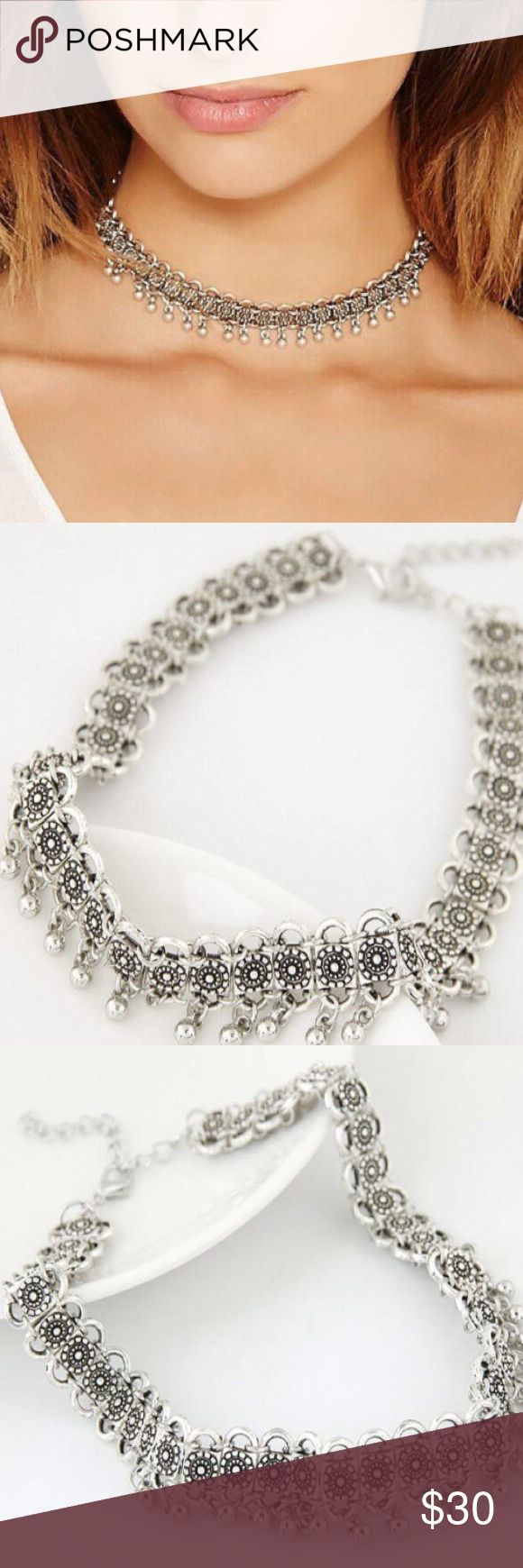 Silver chain boho choker beaded festival necklace! Never used. Free People Jewelry Necklaces