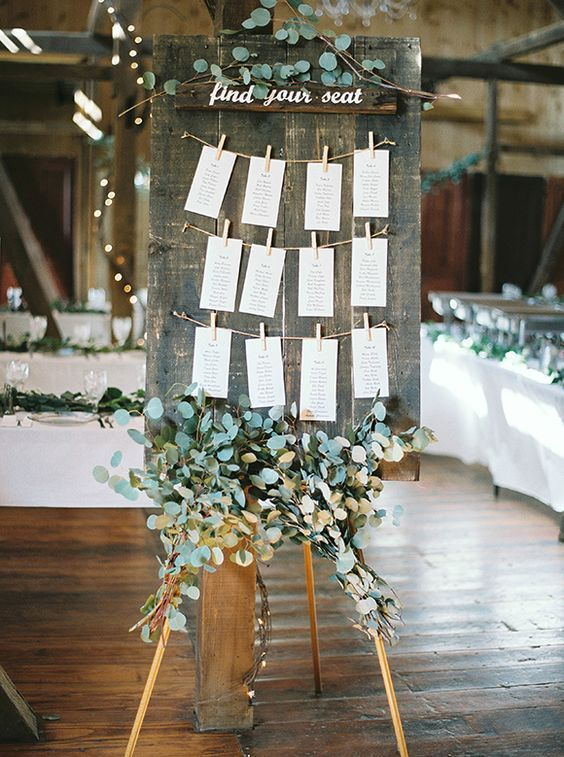 wedding seating decor / http://www.deerpearlflowers.com/greenery-eucalyptus-wedding-decor-ideas/3/