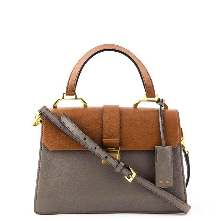Miu Miu Brown And Gray Madras Top Handle In 2019 Bags Luxury Purses Miu Miu