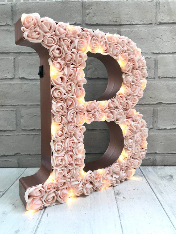 Giant Blush Wedding Letters 12 Rose Initials Very Etsy Large Light Up Letters Light Up Letters Wedding Letters