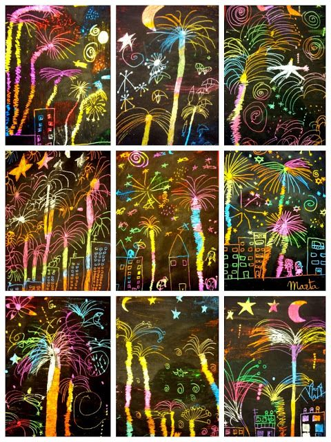 Fireworks: scratch art by secondary students, seen at http://plastiquem.blogspot.com.es/