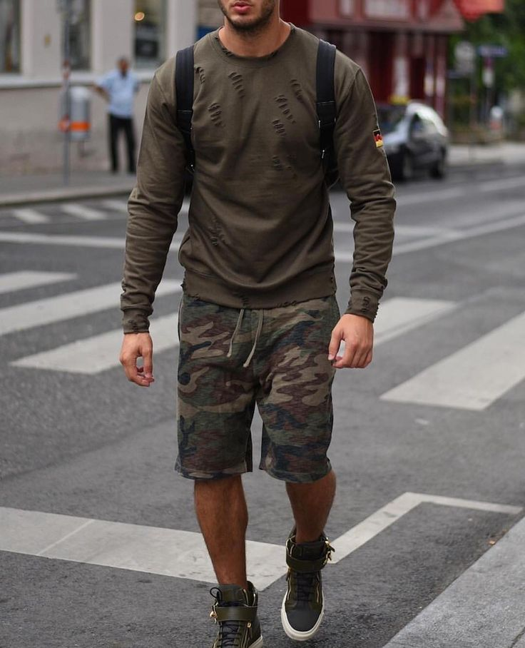 #allgreen  distressed long sleeve #camo shorts and @giuseppezanottidesign #sneakers [ http://ift.tt/1f8LY65 ]