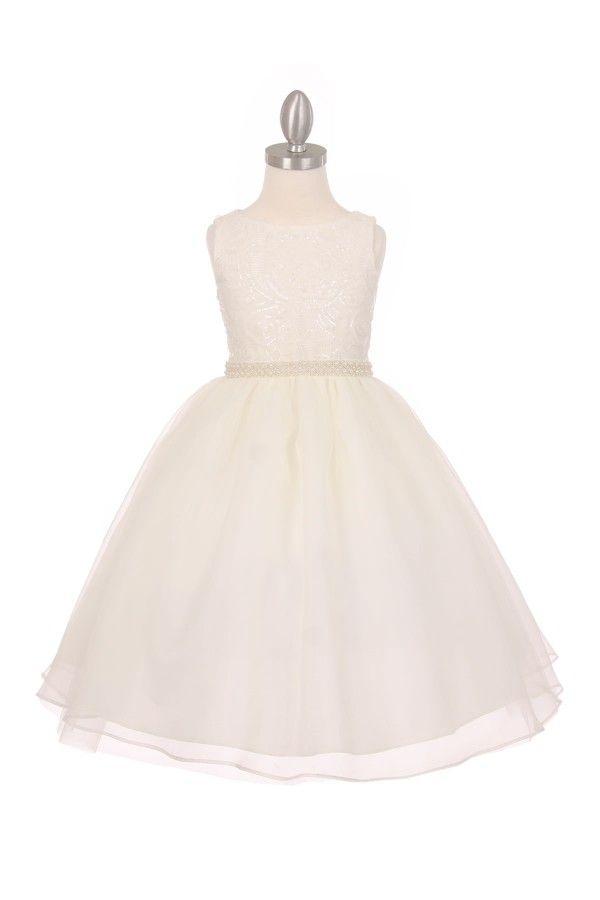 Agata, Vrolijke ivoren bruidsmeisjes jurkje met een bewerkt lijfje en organza rok. Kinderbruidsmode, kinderbruidskleding, bruidsmeisjes jurken, bruidsmeisjes jurk, bruidskinderen, bruidskinderkleding, flower girls.