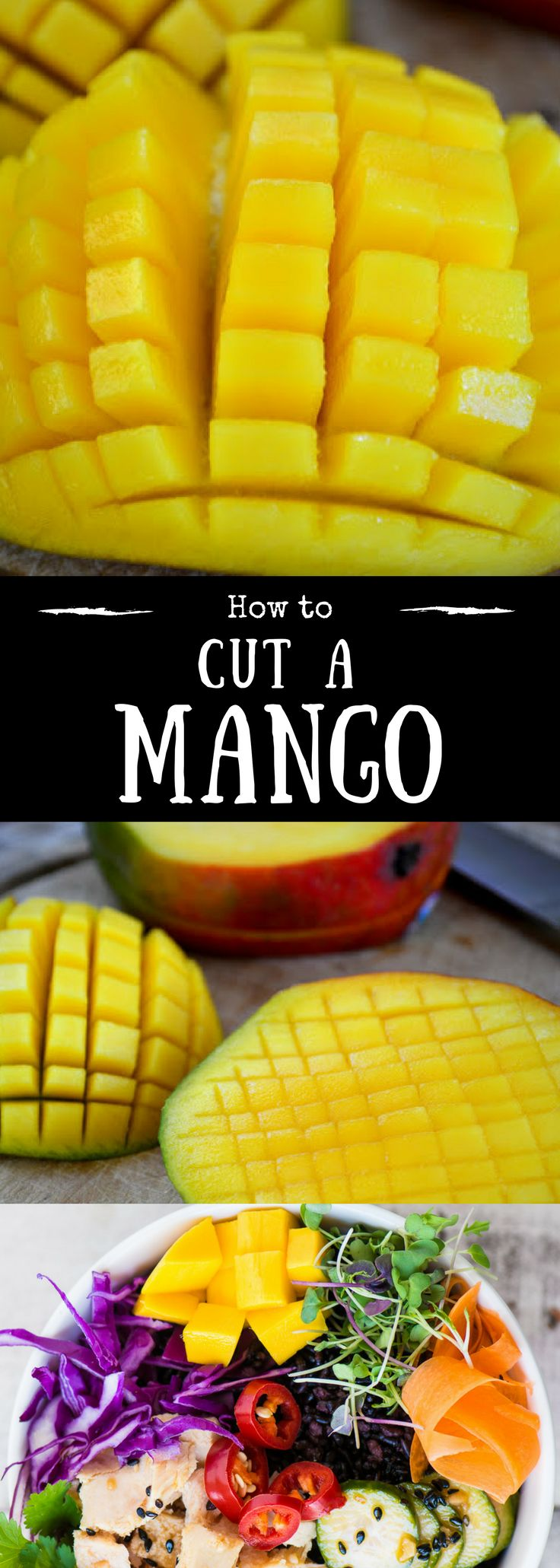 How to cut a mango ~ mangoes are one of the most luxuriously delicious fruits, but if you've never dealt with one, they can be perplexing. I'll show you how to cut it into perfect little chunks so you can enjoy it as is, or in a recipe. | DIY | kitchen hack | Fruit | Healthy | Tropical |