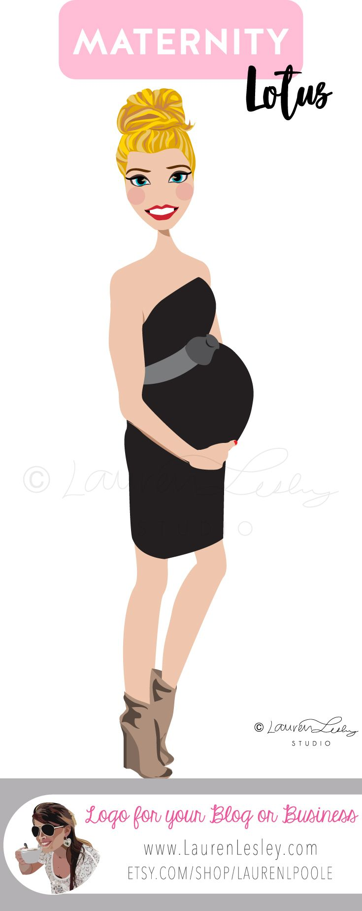 Maternity Portrait   New Mom   Pregnant Lady   Pregnant Woman   Pregnancy Logo   Logo for Blogger   Influencer Logo   Clip Art   Illustration   Design   Avatar   Custom Personalized Maternity Logo