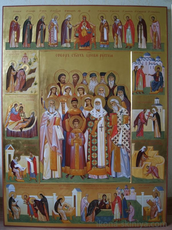 the Synaxis of the Russian Saints by hands of Daineko, to see more check www.ikona-skiniya.com