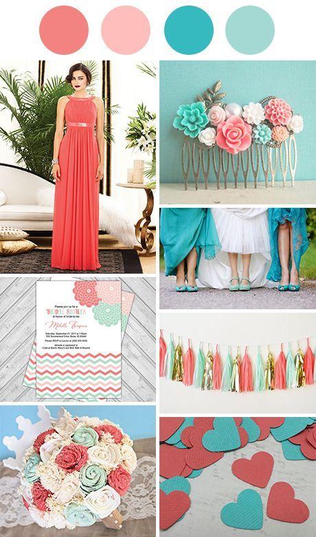 Coral and Aqua - turquoise, aqua, teal, coral or peach themed wedding ideas: