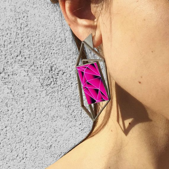 Laser Cut Geometric earring in Stainless Steel by OnticDesign