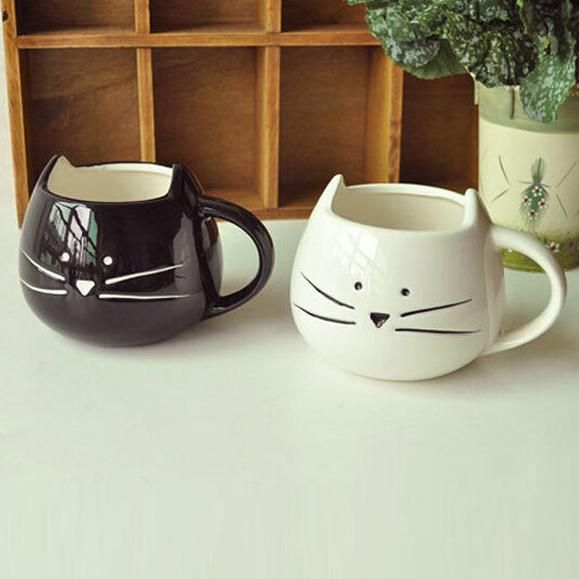 Miland Spring!! 1pcs Cute White Black Cat Mug Milk Ceramic Creative Juice Coffee Porcelain Tea Cup-in Mugs from Home & Garden on Aliexpress.com | Alibaba Group