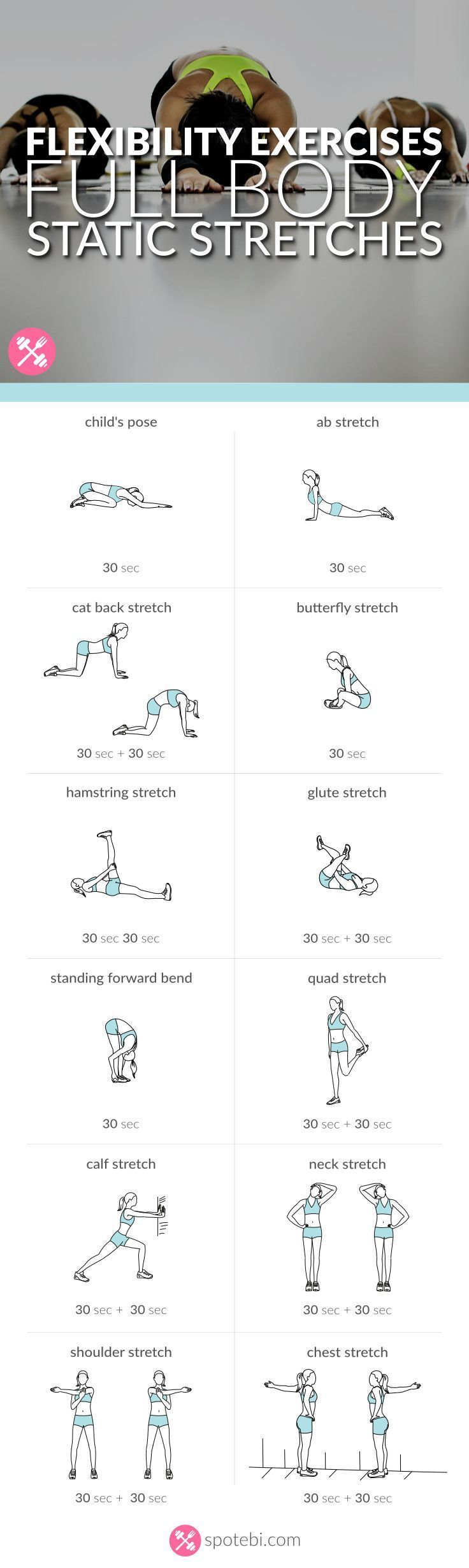 Stretch your entire body with this set of flexibility exercises. A static stretc...