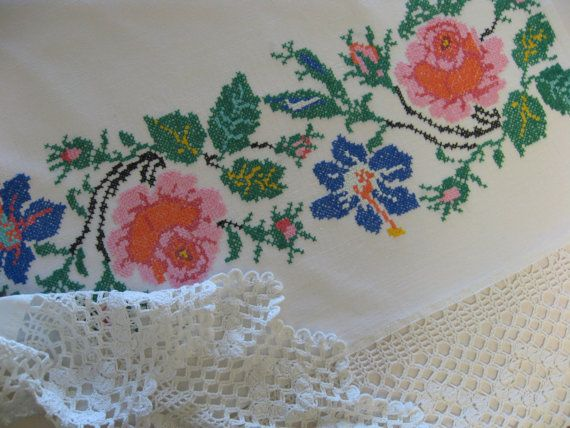 Hand-embroidered bed-skirt/ old bed sheet/ by VintageofUkraine