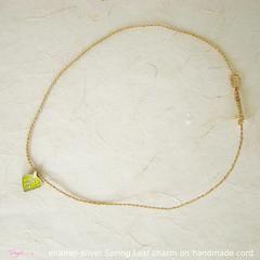 TalisgirlCharms-sterling silver-champleve-enamel-Spring-Leaf-charm-on-handmade-cord-132-WEB