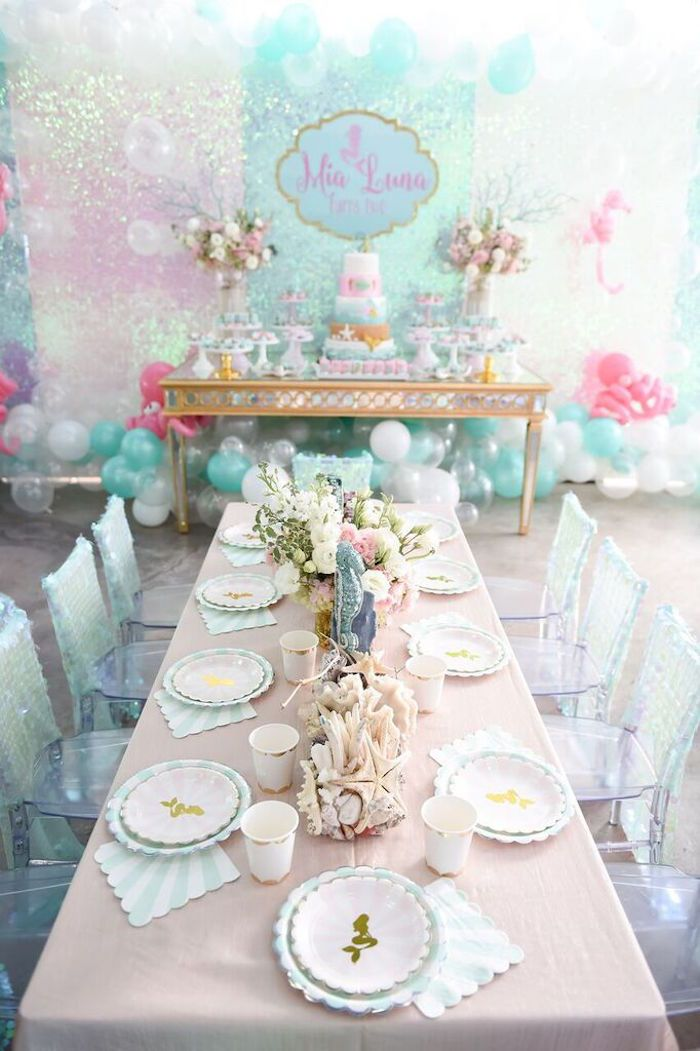 Dining Tablescape from a Mermaid Oasis Themed Birthday Party via Kara's Party…