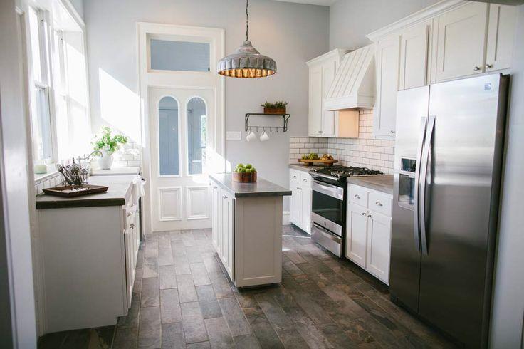 I want this skinny kitchen island magnolia homes fixer for Skinny kitchen island