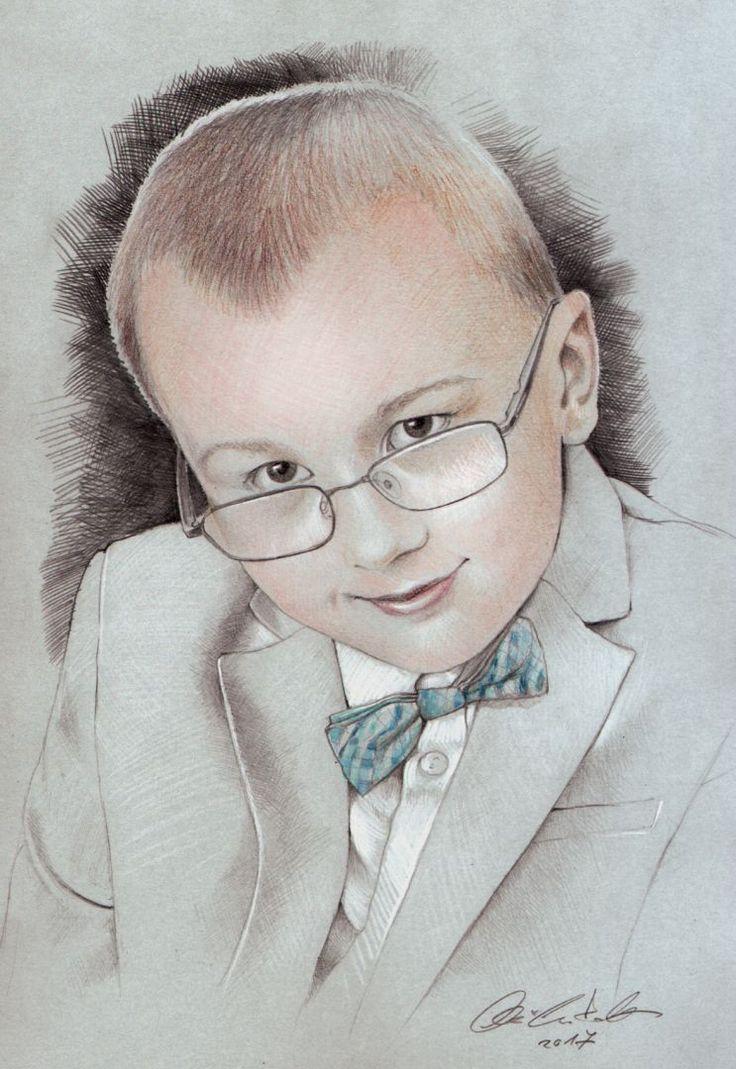 elegant boy portrait - pencil drawing