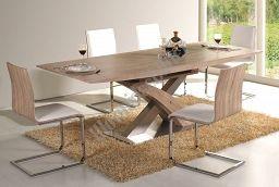 Esstisch Raul 90 cm x160 cm, ausziehbar auf 90 cm x 220 cm, Tischhöhe 76 cm. An dem Esstisch können bequem 6 bis 8 Personen platznehmen. Der Tisch ist aus Holz in Verbindung mit MDF hergestellt, Farbe Eiche Sonoma / gebürstet.