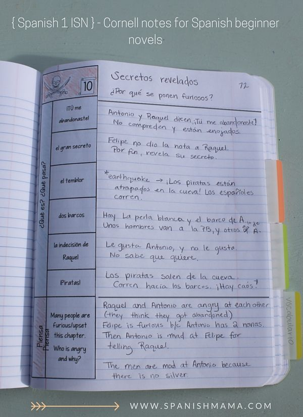 A peek into our Spanish Interactive Notebooks: Cornell notes. Section 2: Class Content