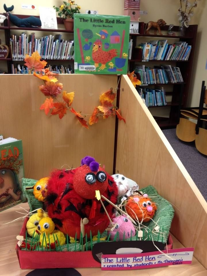 Little Red Hen pumpkin project for the library