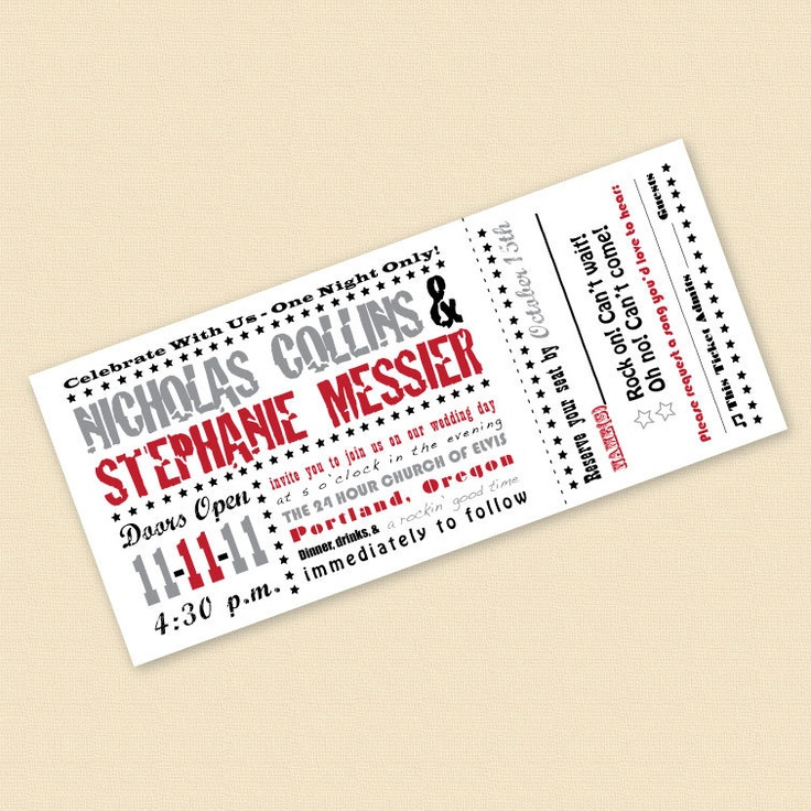 28 best Wedding invitations images – Concert Ticket Invitation Template