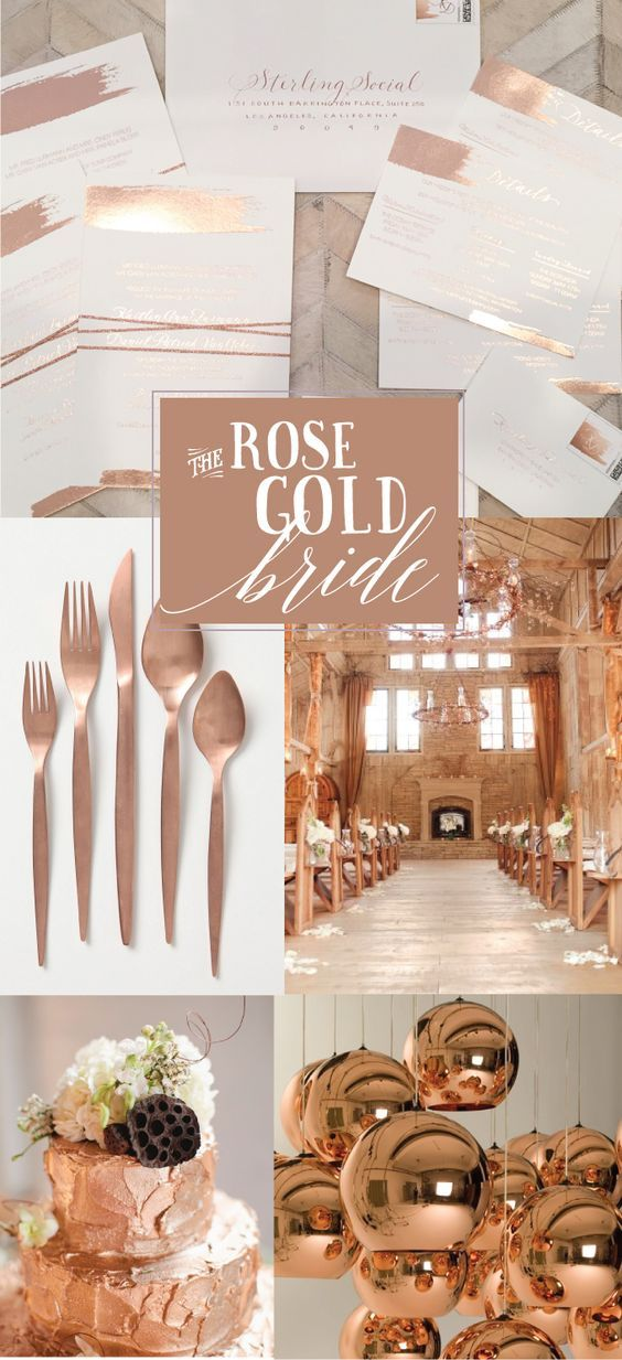 Love These Rose Gold Copper Tones For A Wedding Inspo