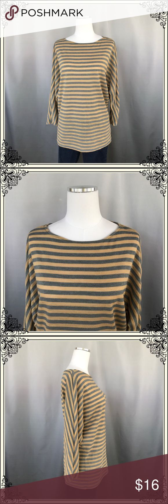 CAbi Brand Tan/Grey Striped Batwing Top #1143 This CAbi Brand Top is 70% Polyester and 30% Rayon. Is is long sleeved and is loose at hem. Oh so comfortable. LUC. Now stains, rips, holes or snags. CAbi Tops