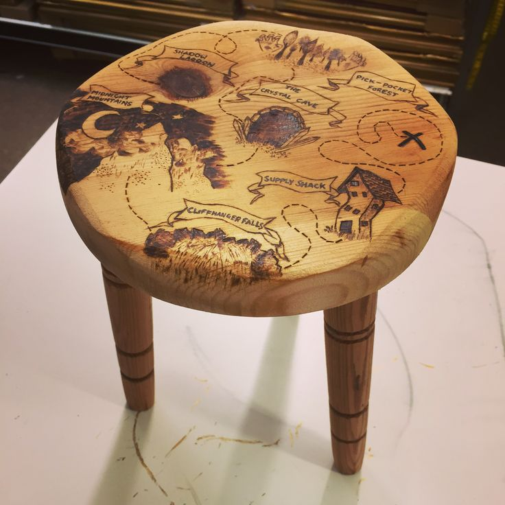 Treasure map stool engraving :) #wood #engraving #art #treasuremap #pirates #furnature #stool #quirky #engraving