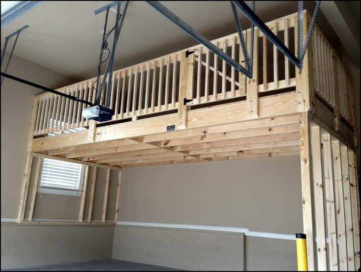 Garage storage loft i like the door but where are the for How much to build a garage with loft