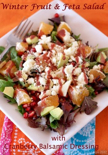 Winter Fruit & Feta Salad with Cranberry Balsamic Dressing | Recipe