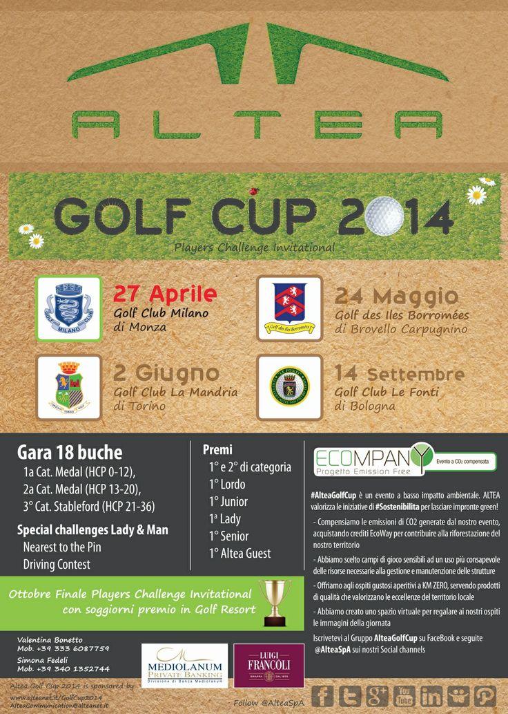 #Altea Golf Cup riparte domenica 27 Aprile 2014 dal #Golf Club #Milano. Il Players Challenge Invitational #AlteaGolfCup cambia colore e lascia solo impronte #green, trasformandosi in un evento a basso impatto ambientale e attento alla #Sostenibilità. Al fianco di #AlteaSpA ci saranno gli sponsor @Luigi Francoli Grappa e Banca Mediolanum con interessanti proposte per tutti i partecipanti. Per saperne di più visita il sito WWW.ALTEANET.IT/Altea_Golf_Cup