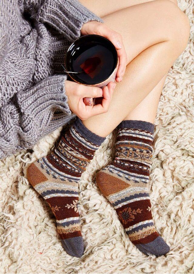 Cozy socks and tea.