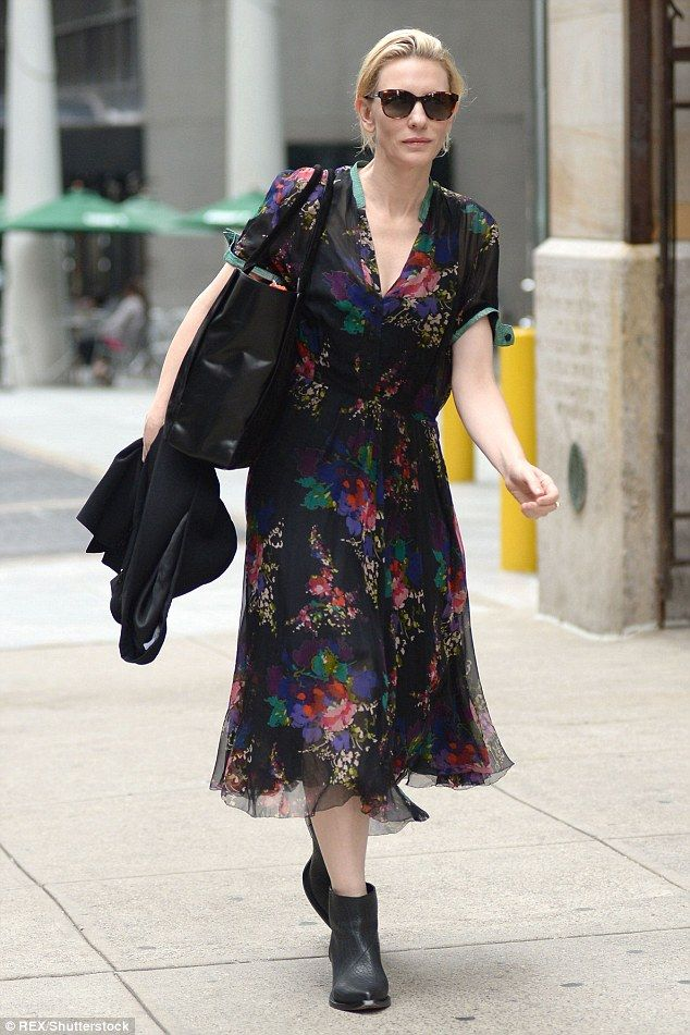 This year has seen the confluence of two trends that have played into the heart of British women's traditional taste - flower patterns and midi lengths - in dresses like the one Cate Blanchett is rocking (pictured)