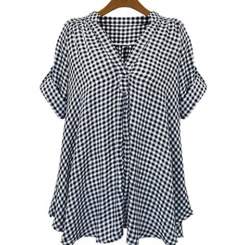 Casual Stand-Up Collar Short Sleeve Plaid Loose-Fitting Blouse For Women white black (Casual Stand-Up Collar Short Sleeve Plaid Loose-Fitting Blouse) by http://www.irockbags.com/casual-standup-collar-short-sleeve-plaid-loosefitting-blouse-for-women-white-black