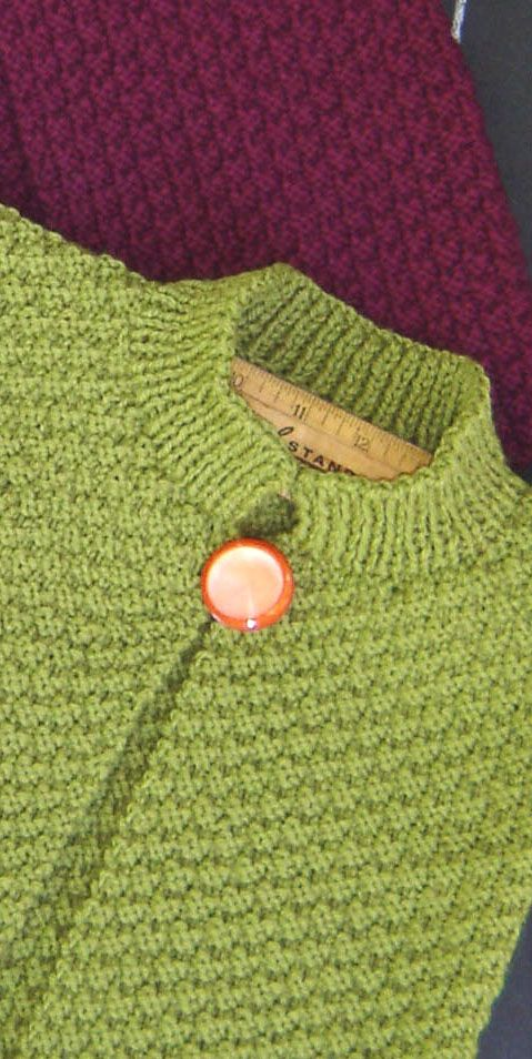 A double moss stitch topper for little girls.