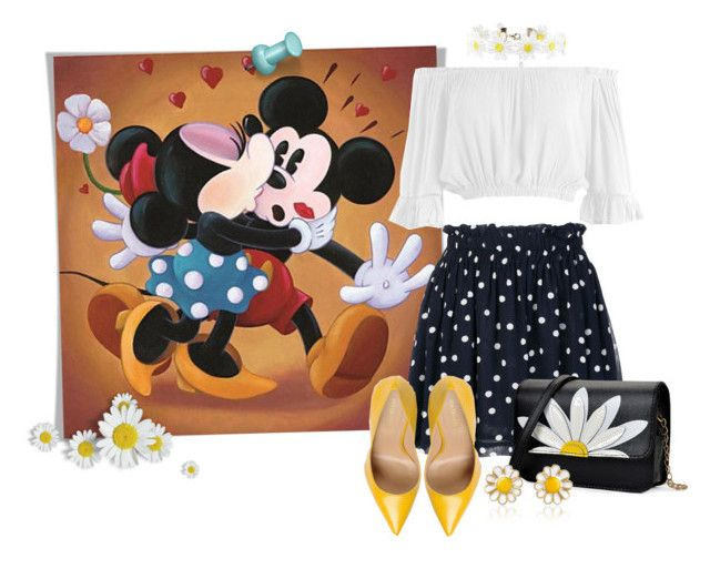 """Disney Kiss (Mickey & Minnie Mouse)"" by funnfiber ❤ liked on Polyvore featuring Ganni, Forever 21, Sans Souci, Sergio Rossi and AZ Collection"