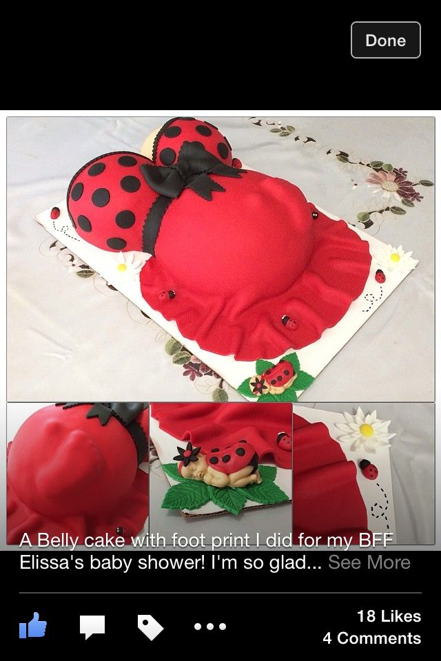Ladybug pregnant belly cake