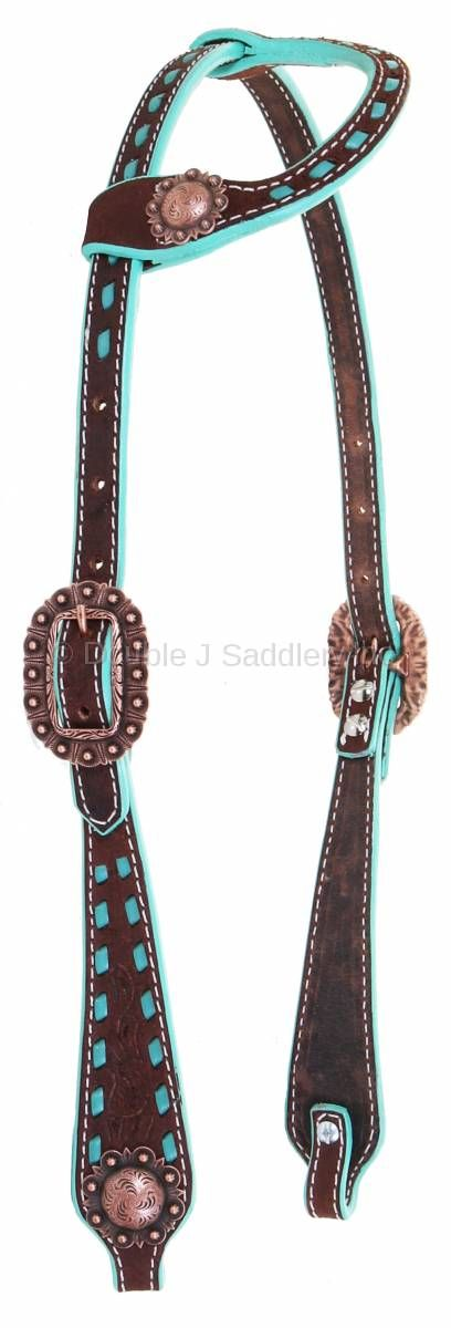 Brown Rough Out Buck Stitched Single Ear Headstall - H984