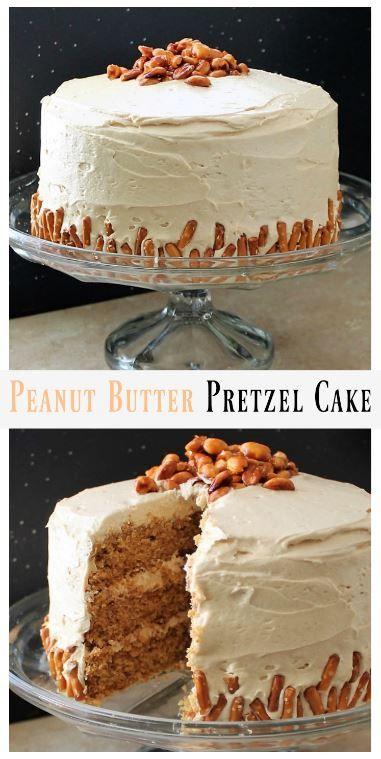 Pretzel Cake with Fluffy Peanut Butter Frosting MyRecipeReviews.com
